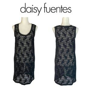 Daisy Fuentes Black Floral Lace Swimsuit Cover Up